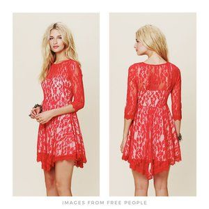 Free People ▪ Hot Red Floral Mesh Lace Dress